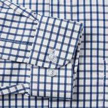 Load image into Gallery viewer, Rael Brook Classic Fit Navy Checkerboard Single Cuff Shirt Cuff