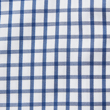 Load image into Gallery viewer, Rael Brook Classic Fit Navy Checkerboard Single Cuff Shirt Fabric