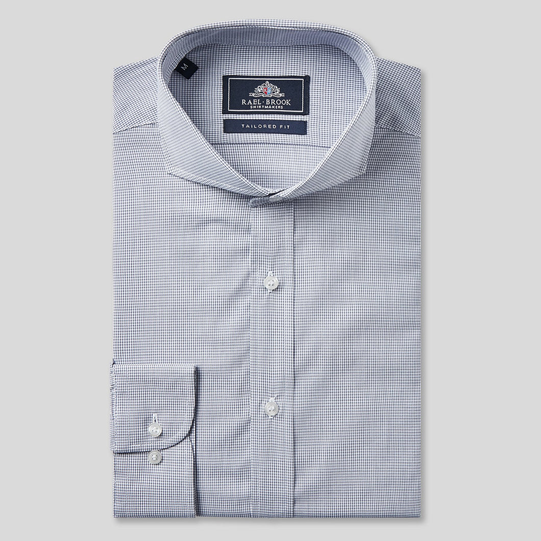 Rael Brook Tailored Fit Navy Fine Check Single Cuff Shirt