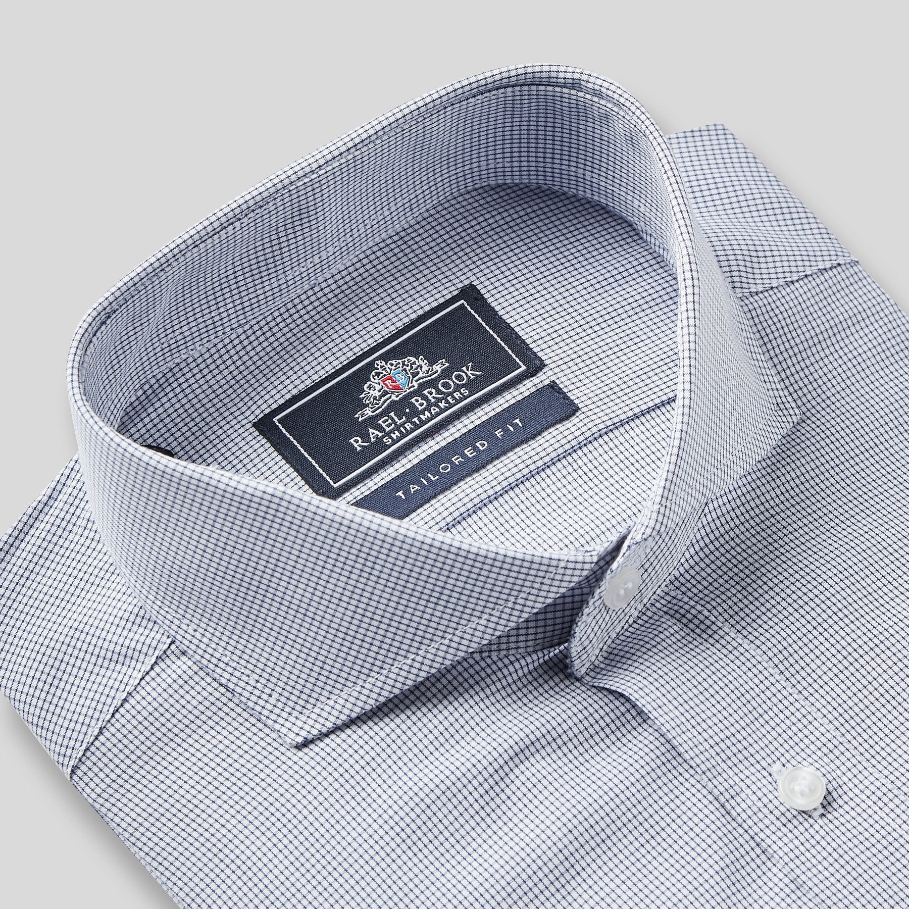 Rael Brook Tailored Fit Navy Fine Check Single Cuff Shirt Collar