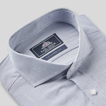 Load image into Gallery viewer, Rael Brook Tailored Fit Navy Fine Check Single Cuff Shirt Collar