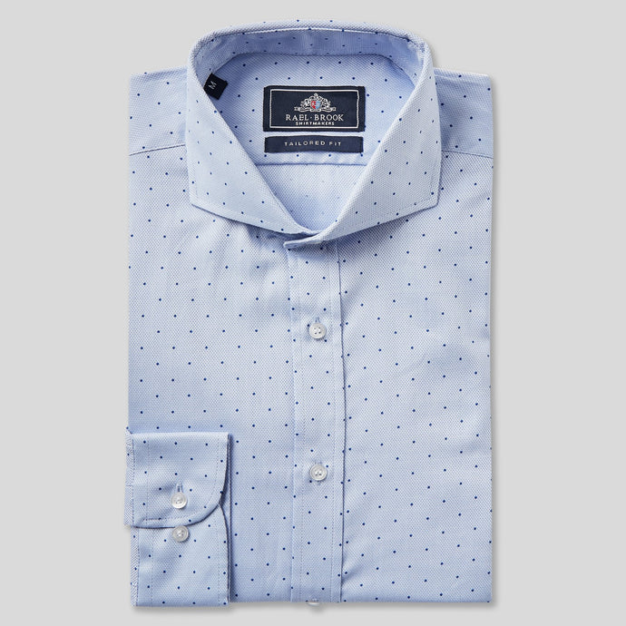 Rael Brook Tailored Fit Blue Polka Dot Single Cuff Shirt