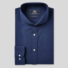 Load image into Gallery viewer, Rael Brook Tailored Fit Navy Seersucker Stripe Single Cuff Shirt