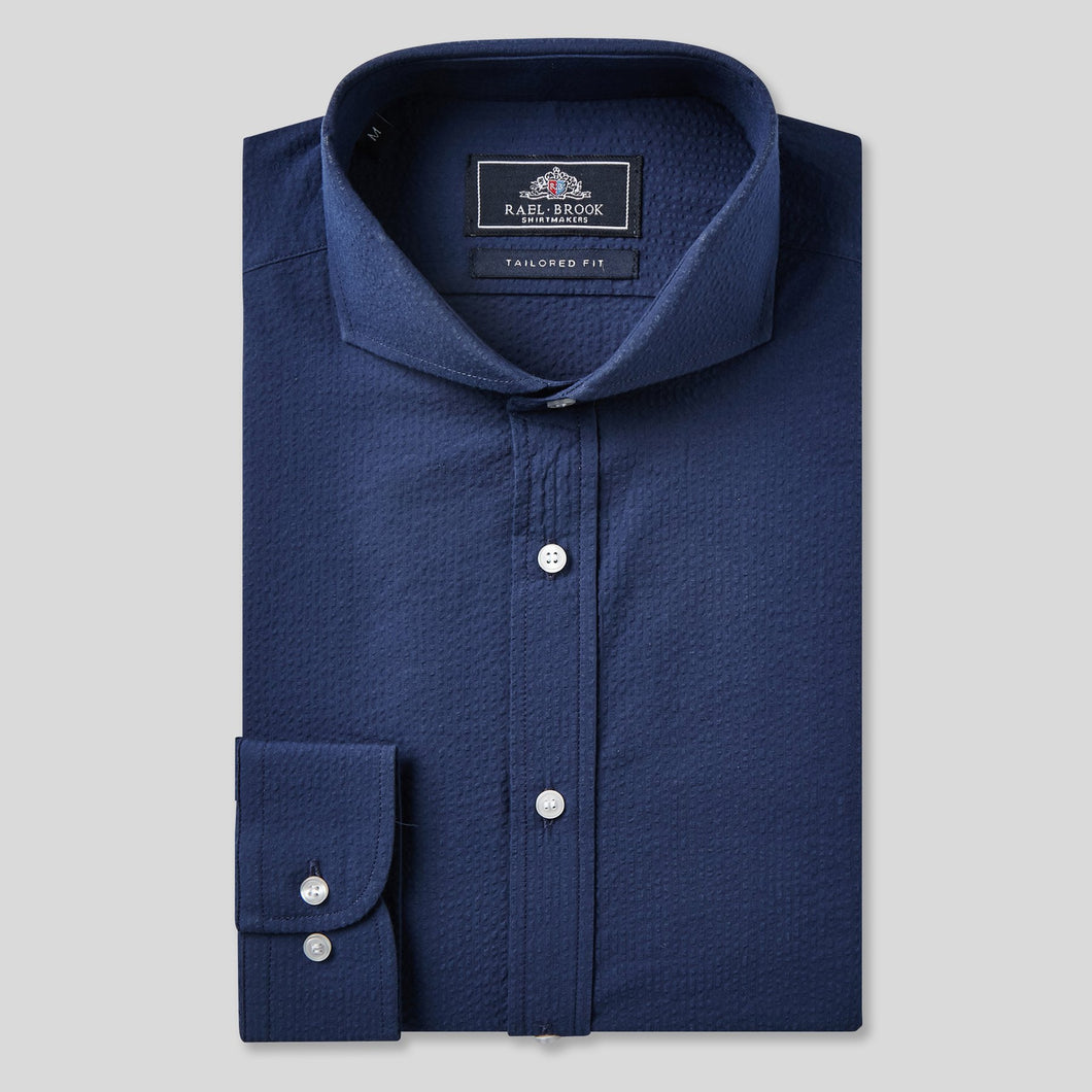 Rael Brook Tailored Fit Navy Seersucker Stripe Single Cuff Shirt