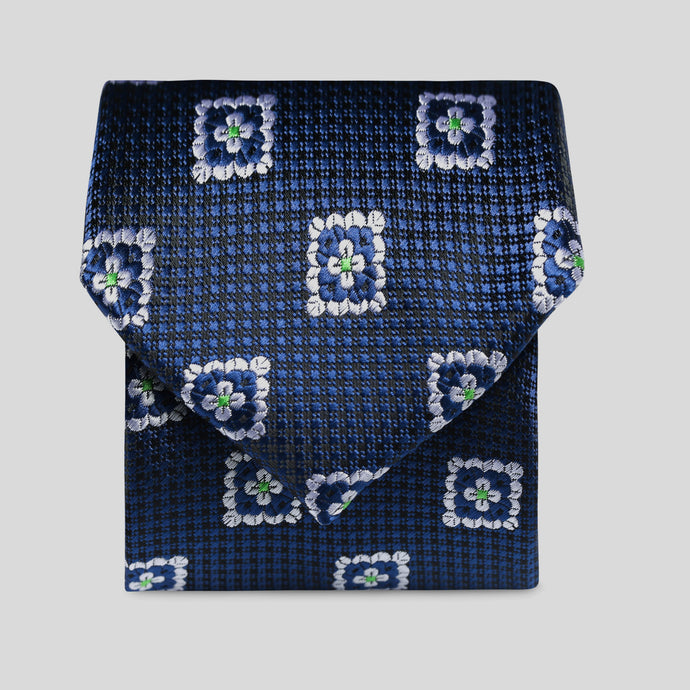 Navy And Black Micro Check With White Floral Block Classic Tie