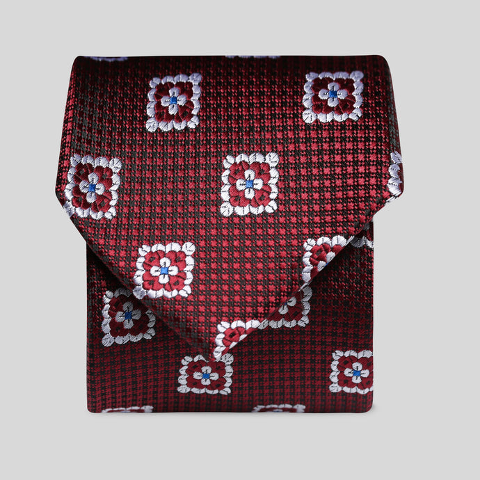Wine And Black Micro Check With White Floral Block Classic Tie