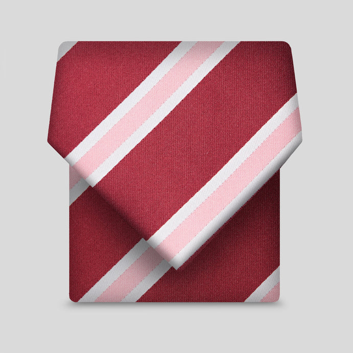Wine With White And Coral Stripe Classic Tie