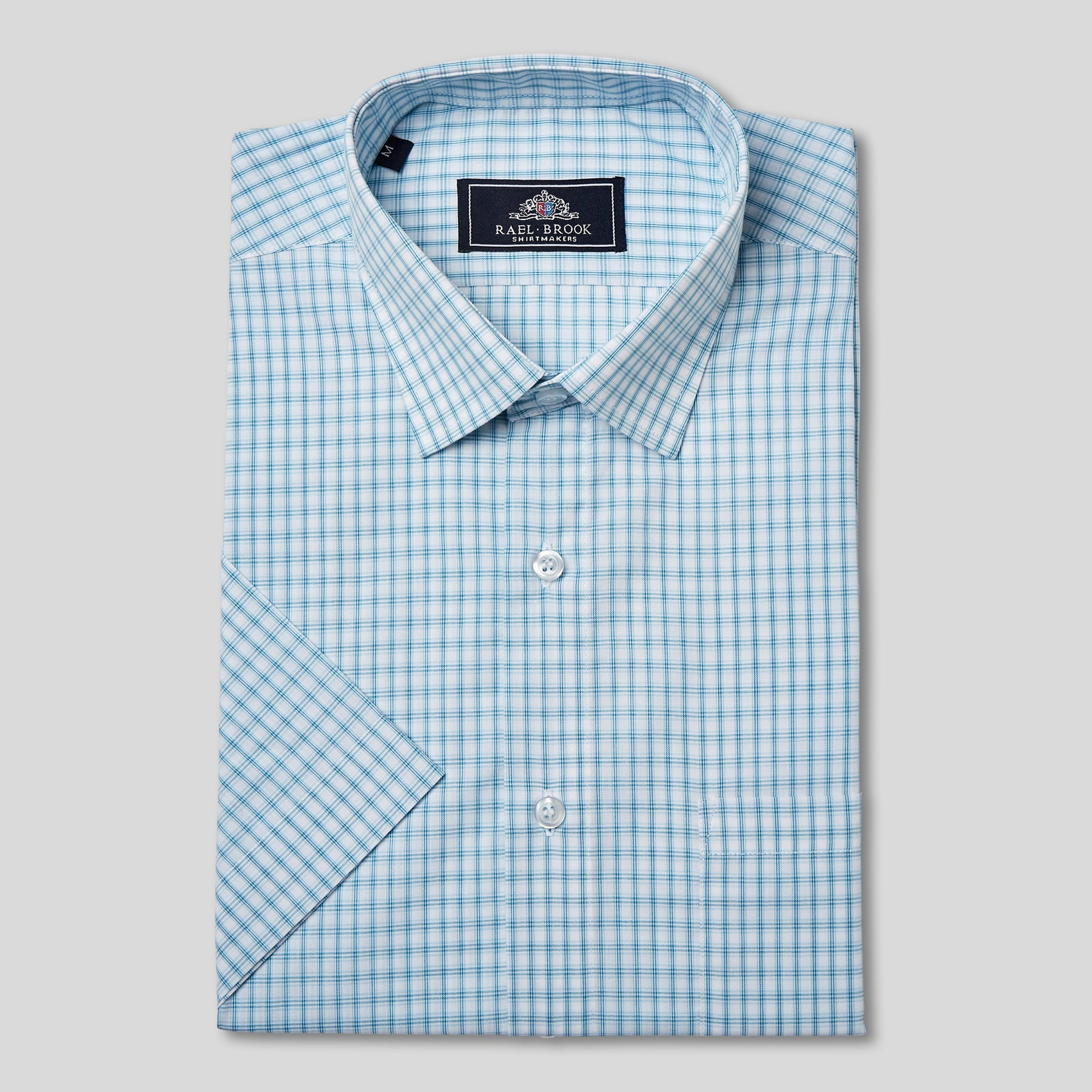 Rael Brook Classic Fit Short Sleeve Blue Box Check Shirt