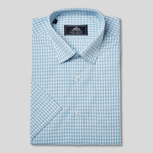 Load image into Gallery viewer, Rael Brook Classic Fit Short Sleeve Blue Box Check Shirt