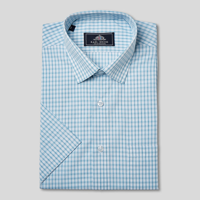 Classic Fit Blue Box Check Short Sleeve Shirt