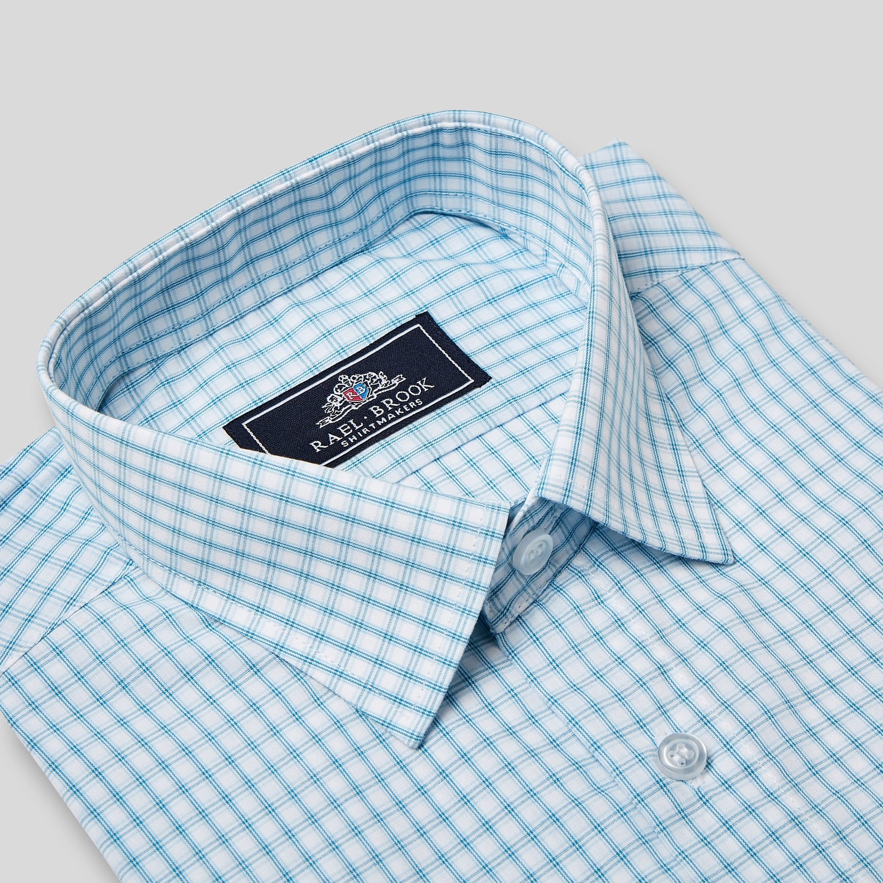 Rael Brook Classic Fit Short Sleeve Blue Box Check Shirt Collar