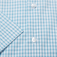 Load image into Gallery viewer, Rael Brook Classic Fit Short Sleeve Blue Box Check Shirt Cuff