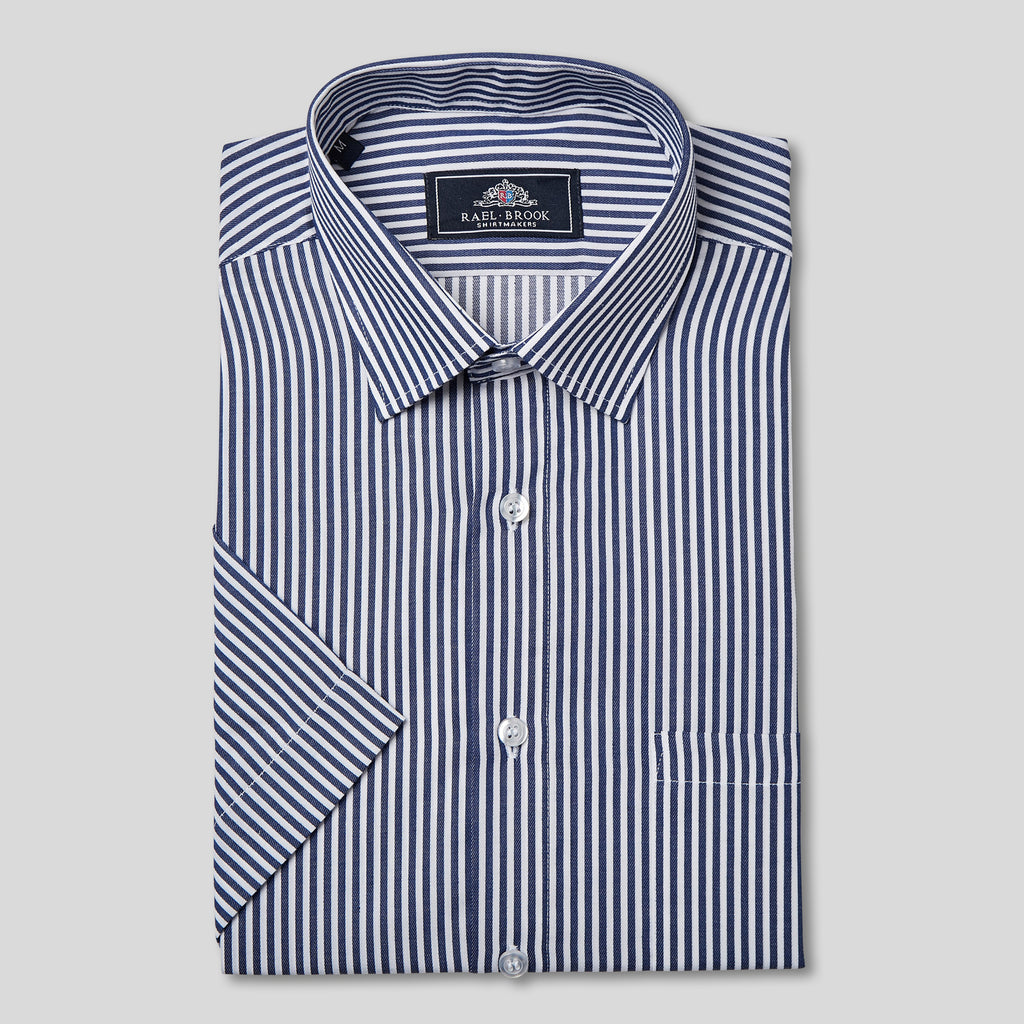 Classic Fit Navy Bengal Short Sleeve Shirt