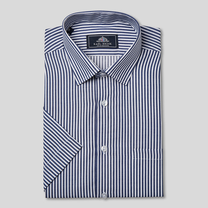 Rael Brook Classic Fit Short Sleeve Bengal Navy Shirt