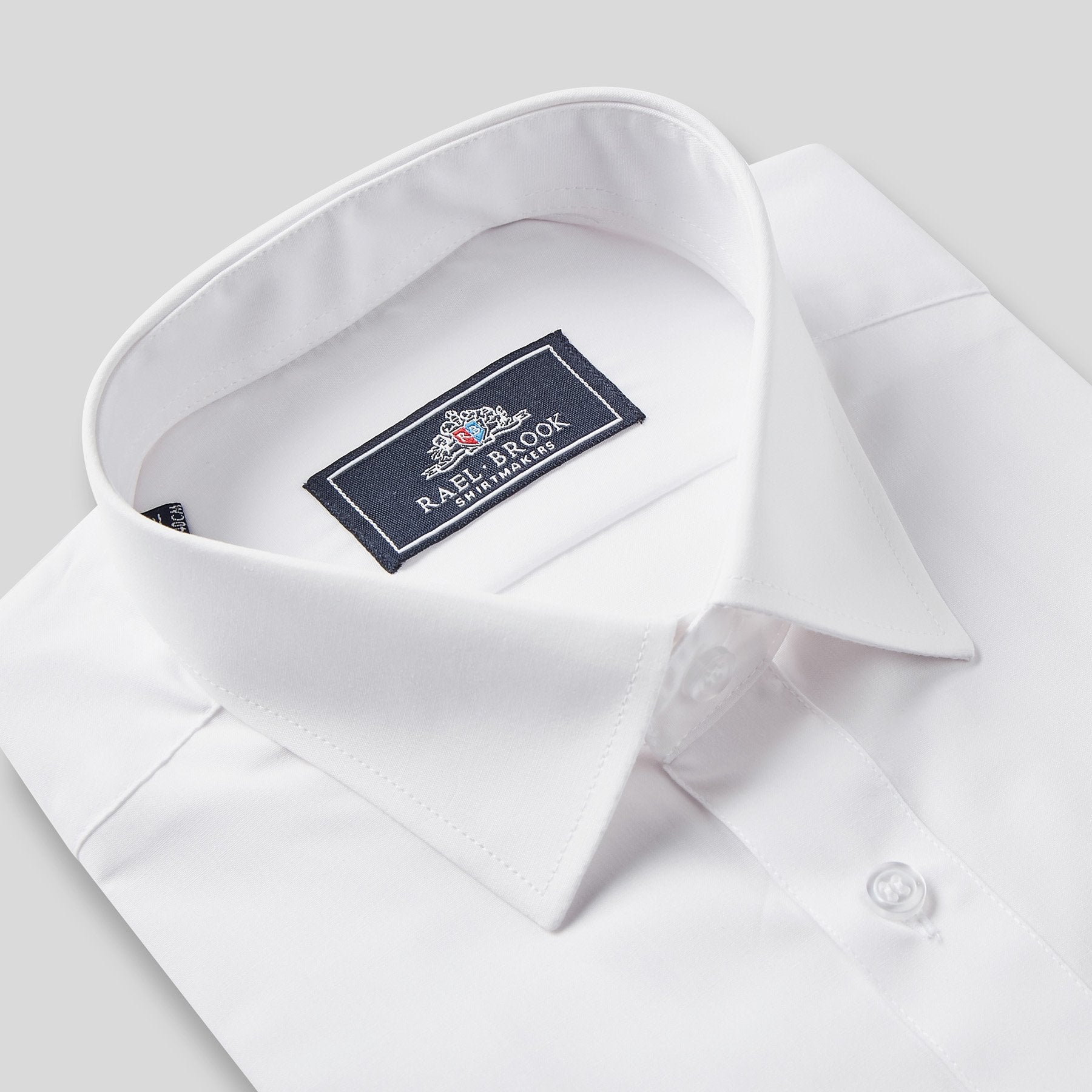 Rael Brook Classic Fit White Short Sleeve Shirt Collar