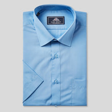 Load image into Gallery viewer, Rael Brook Classic Fit Mid Blue Short Sleeve Shirt