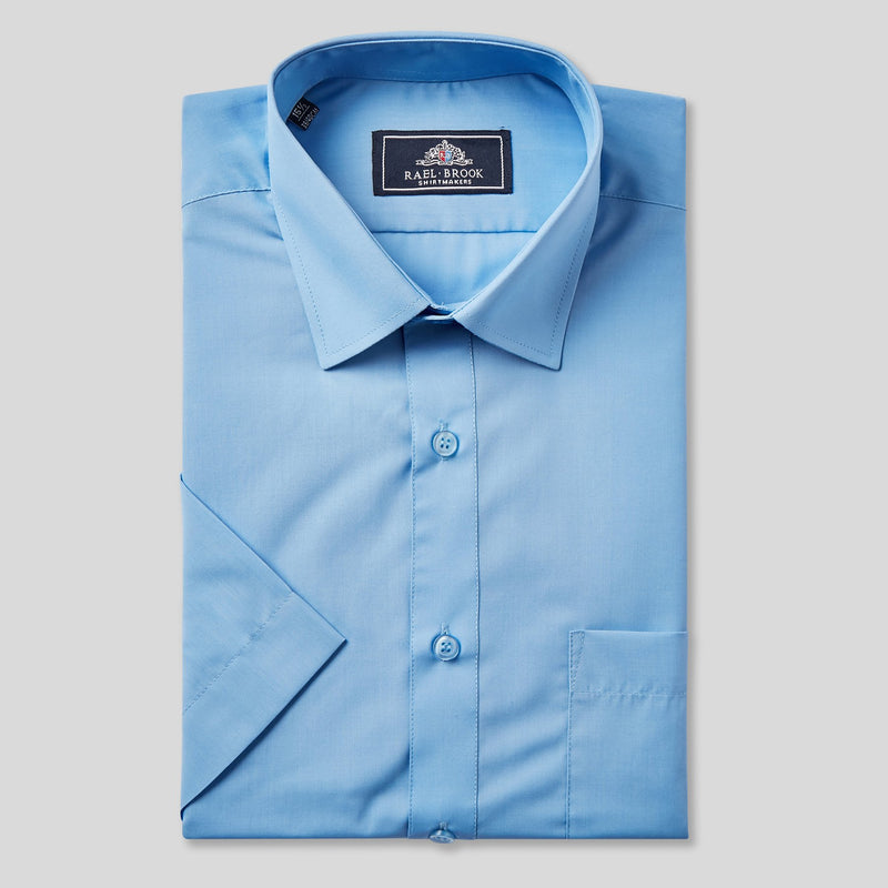 Rael Brook Classic Fit Mid Blue Short Sleeve Shirt