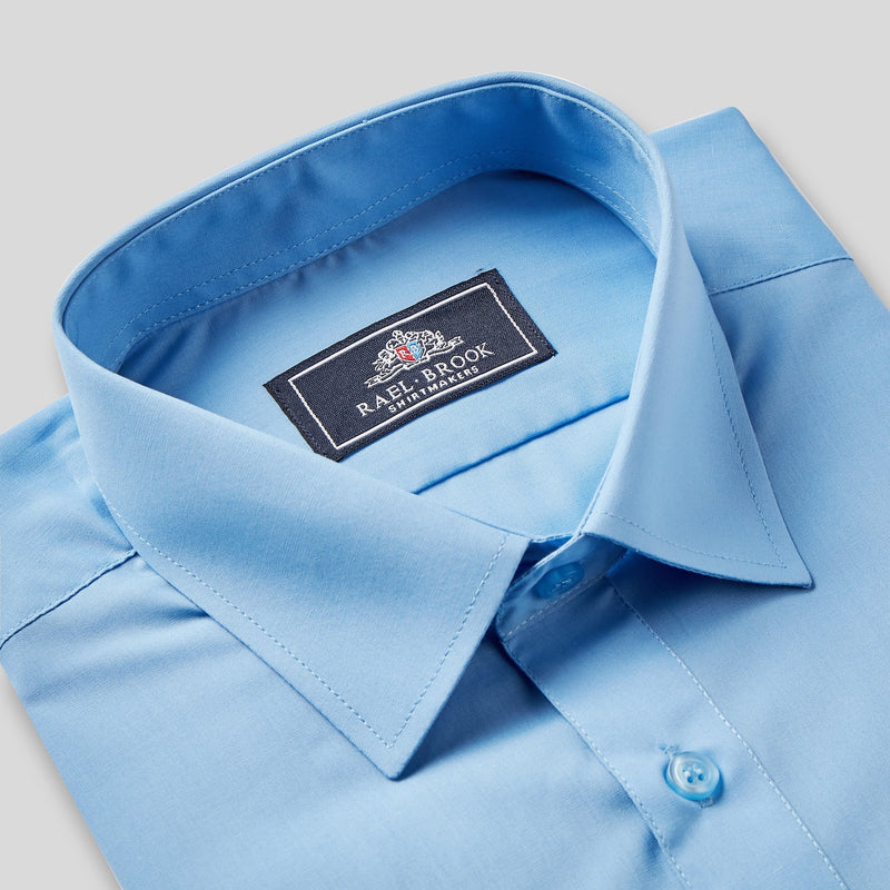 Rael Brook Classic Fit Mid Blue Short Sleeve Shirt Collar