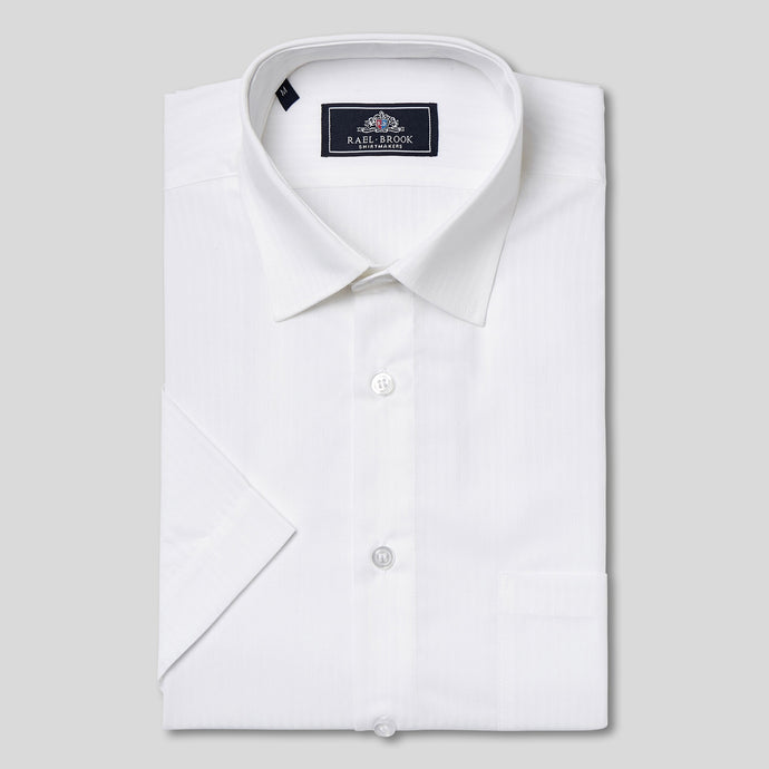 Rael Brook Classic Fit Short Sleeve White On White Satin Shirt