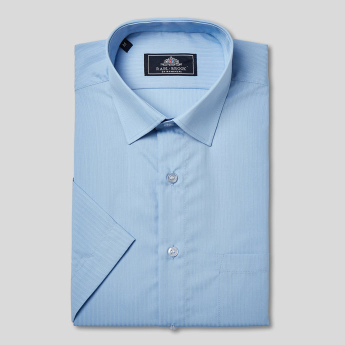 Rael Brook Classic Fit Short Sleeve Blue On Blue Satin Shirt