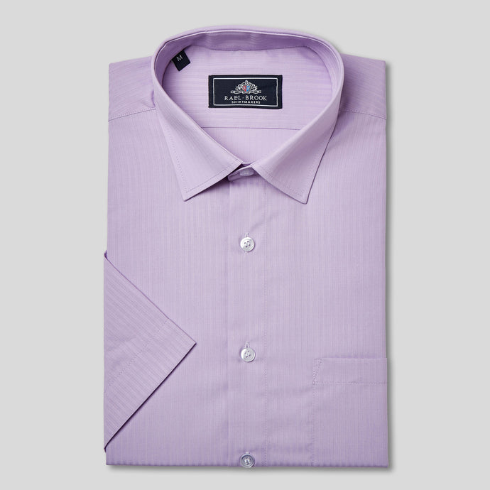 Rael Brook Classic Fit Short Sleeve Purple On Purple Satin Shirt