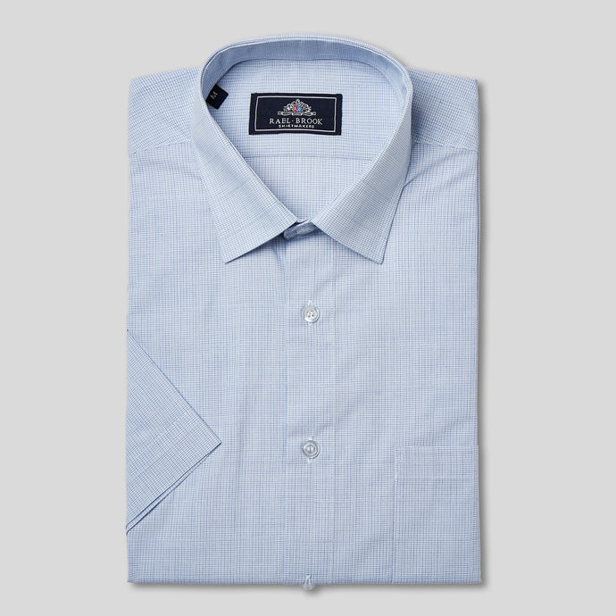 Rael Brook  Classic Fit Short Sleeve Blue Neat Check Shirt
