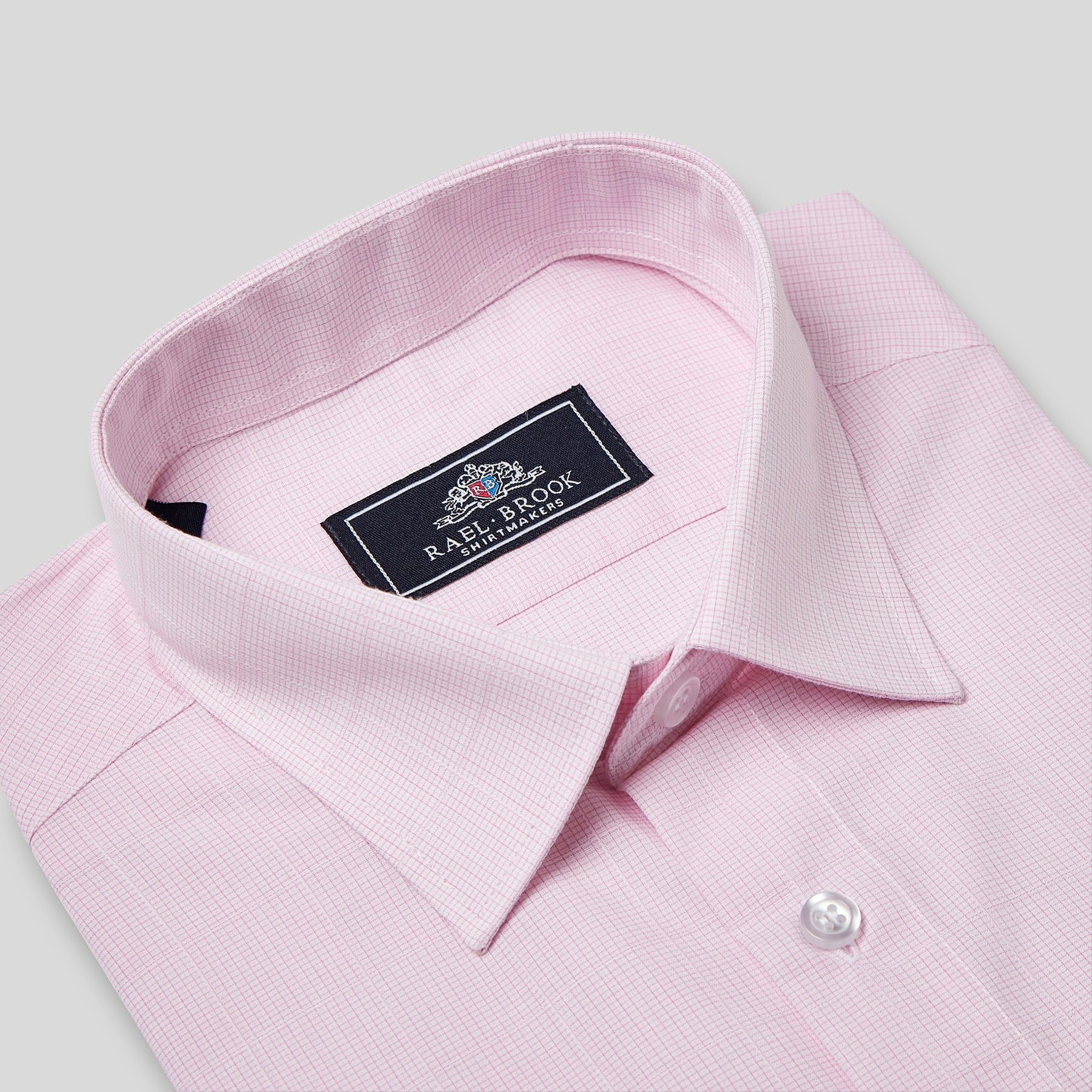 Rael Brook  Classic Fit Short Sleeve Pink Neat Check Shirt