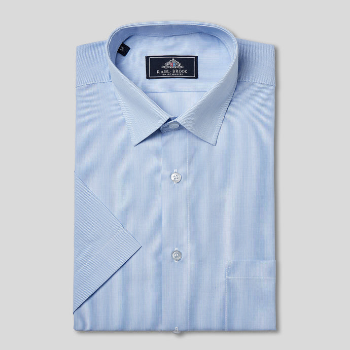 Rael Brook Classic Fit Short Sleeve Blue Pinstripe Shirt