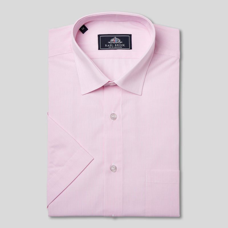 Rael Brook Classic Fit Short Sleeve Pink Pinstripe Shirt