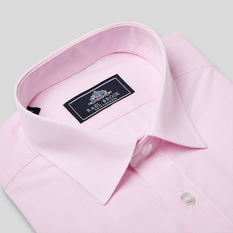 Rael Brook Classic Fit Short Sleeve Pink Pinstripe Shirt Collar