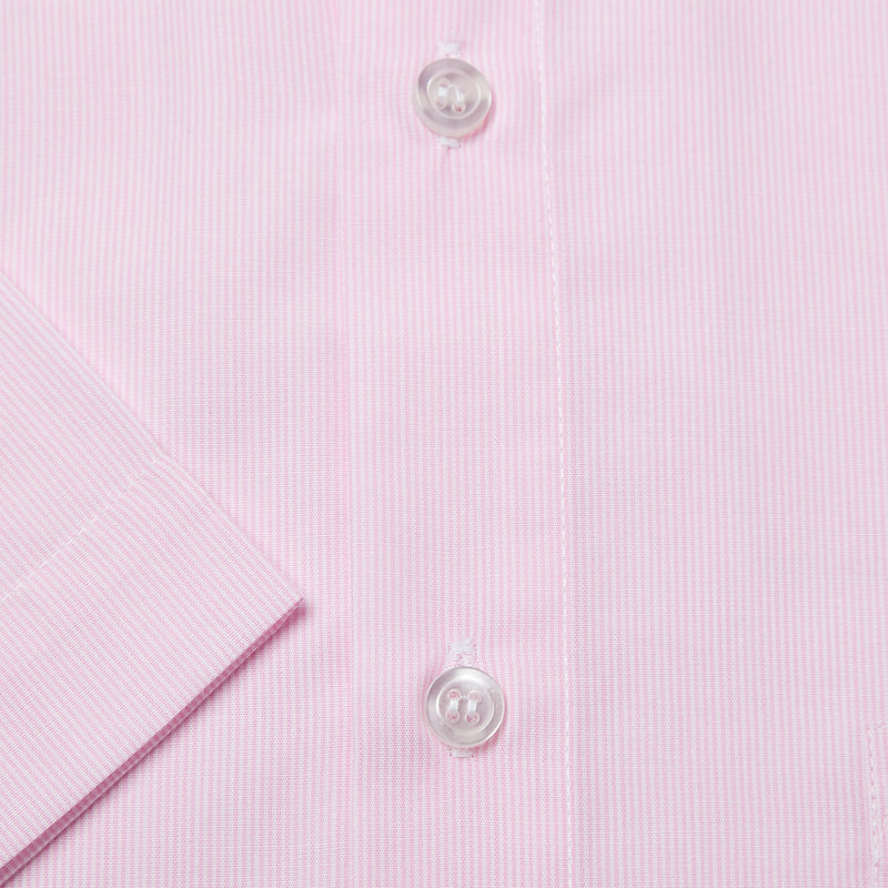 Rael Brook Classic Fit Short Sleeve Pink Pinstripe Shirt Cuff