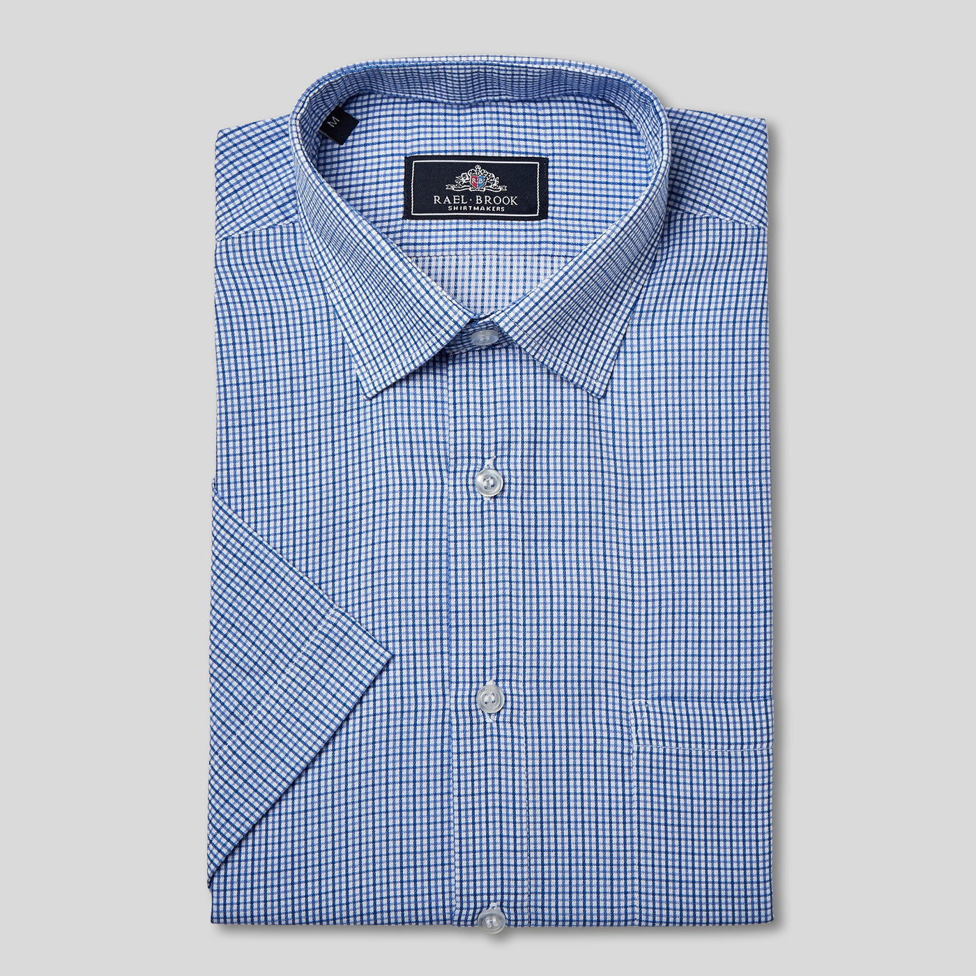 Rael Brook Classic Fit Short Sleeve Blue Micro Check Shirt