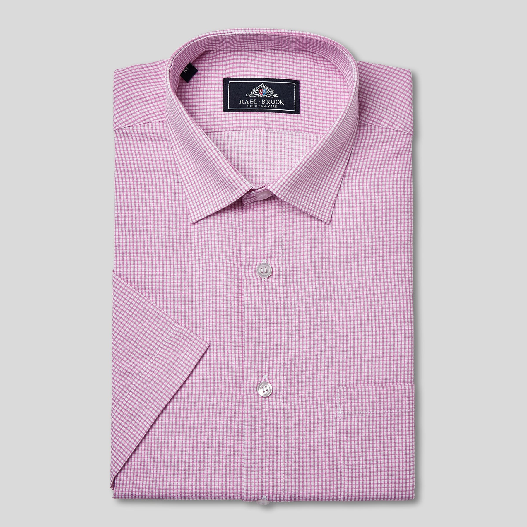 Classic Fit Pink Micro Check Short Sleeve Shirt