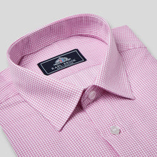 Load image into Gallery viewer, Rael Brook Classic Fit Short Sleeve Pink Micro Check Shirt Collar