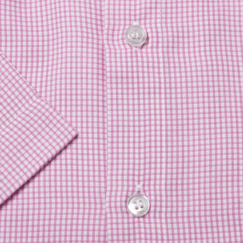 Rael Brook Classic Fit Short Sleeve Pink Micro Check Shirt Cuff