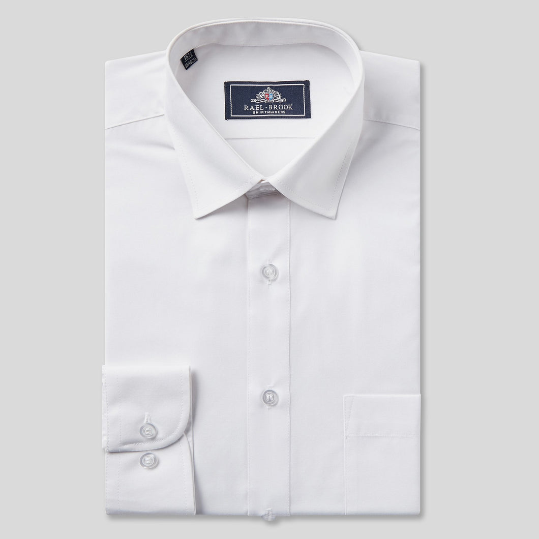 Rael Brook Classic Fit White Single Cuff Shirt
