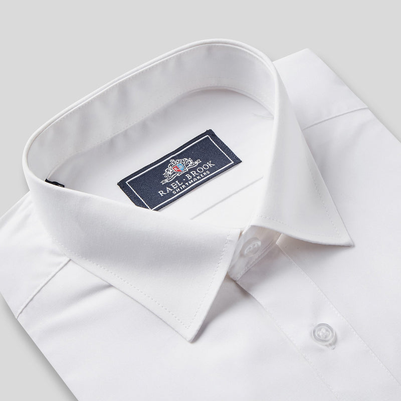Rael Brook Classic Fit White Single Cuff Shirt Collar