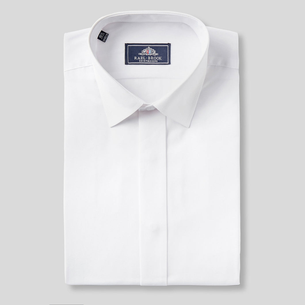 Rael Brook Classic Fit White Fly Front Dress Shirt
