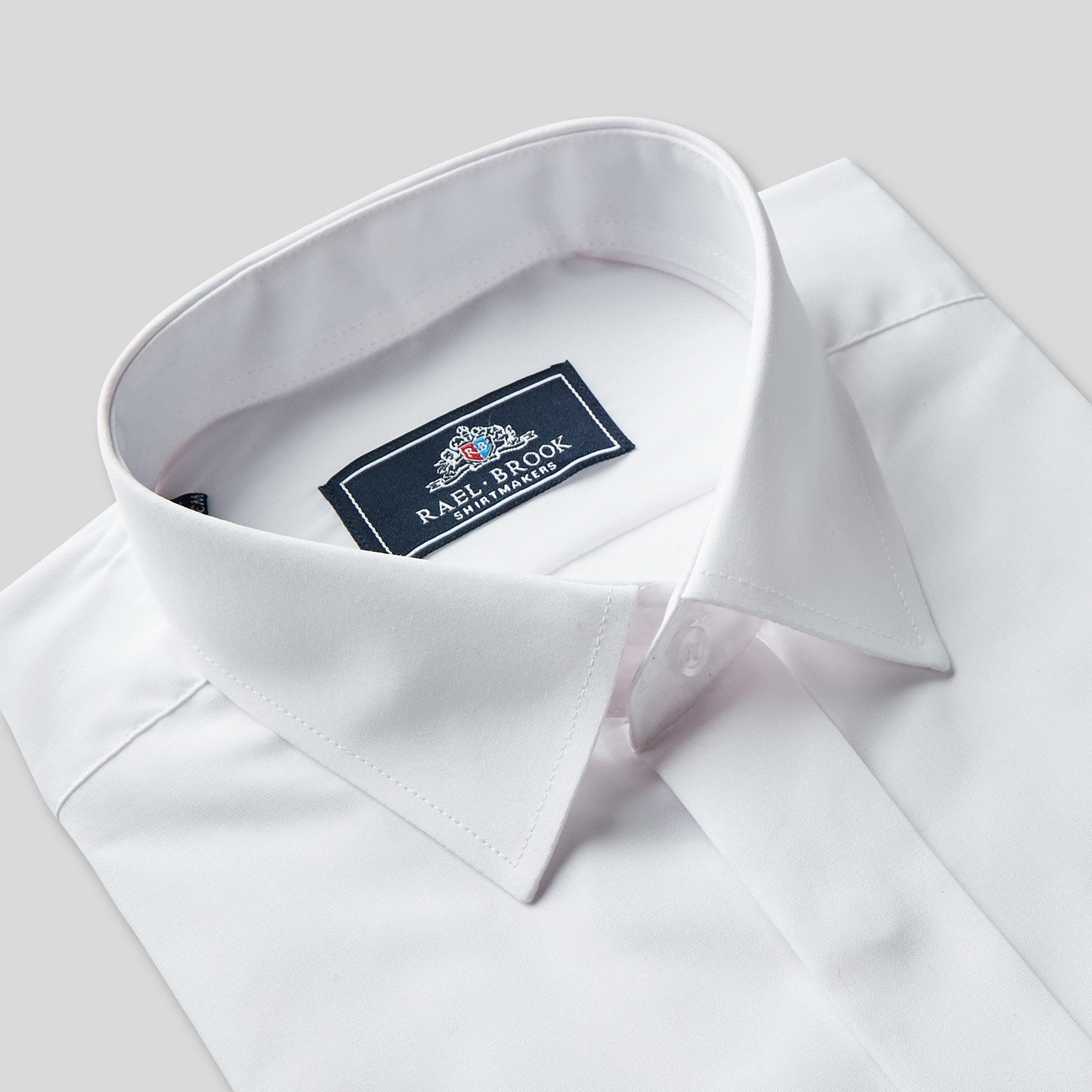Rael Brook Classic Fit White Fly Front Dress Shirt Collar