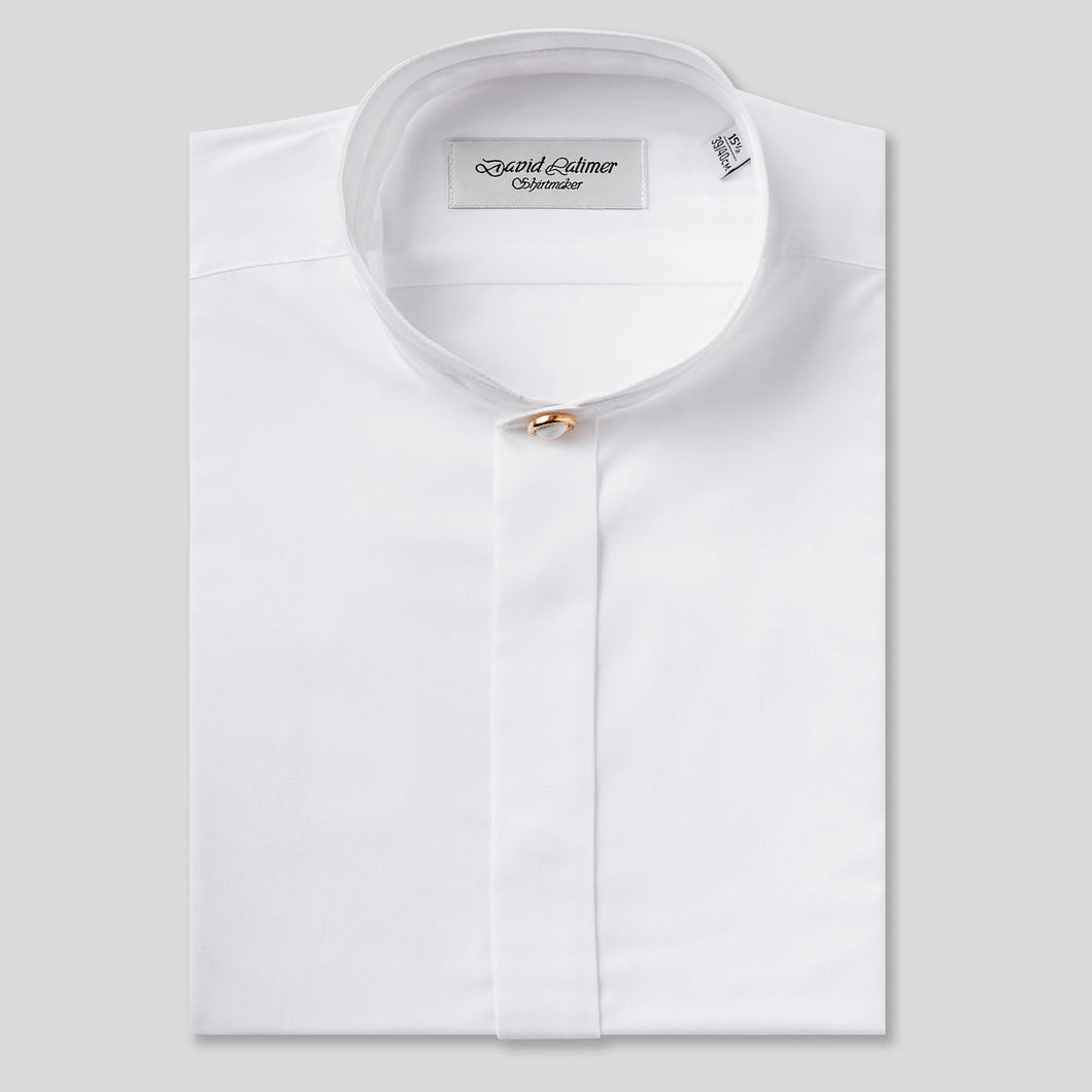 Rael Brook Classic Fit White Fly Front Mandarin Collar Dress Shirt
