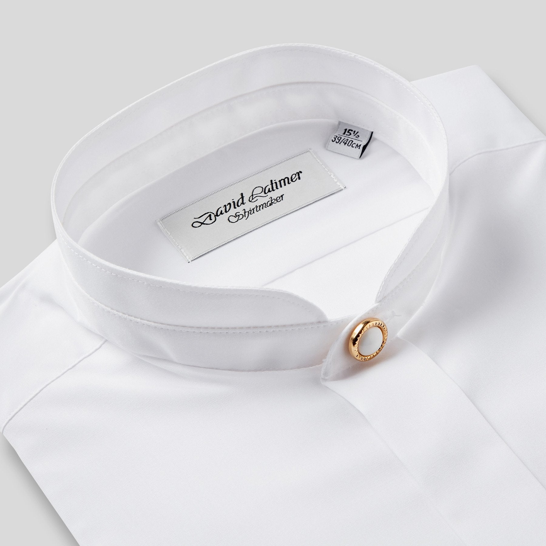 Rael Brook Classic Fit White Fly Front Mandarin Collar Dress Shirt Collar