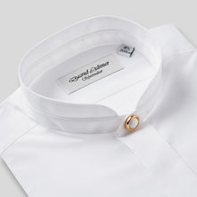 Load image into Gallery viewer, Rael Brook Classic Fit White Fly Front Mandarin Collar Dress Shirt Collar