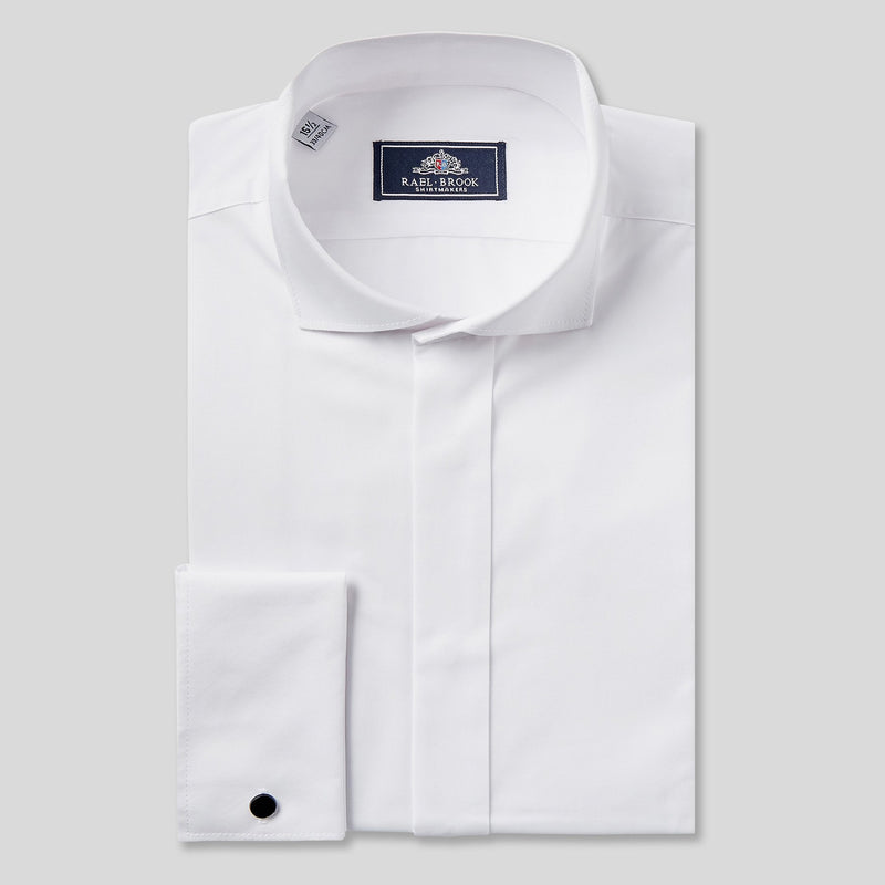 Rael Brook Classic Fit White Swept Wing Double Cuff Dress Shirt
