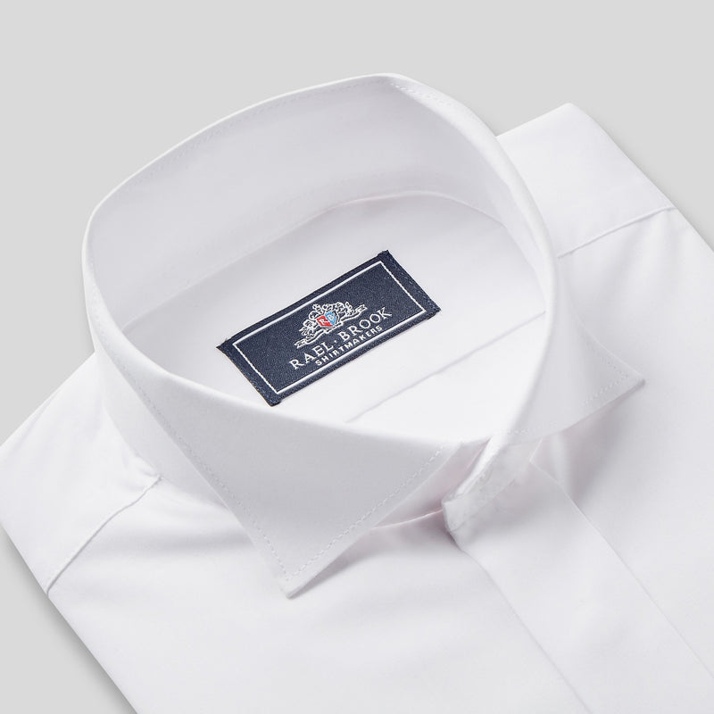 Rael Brook Classic Fit White Swept Wing Double Cuff Dress Shirt Collar