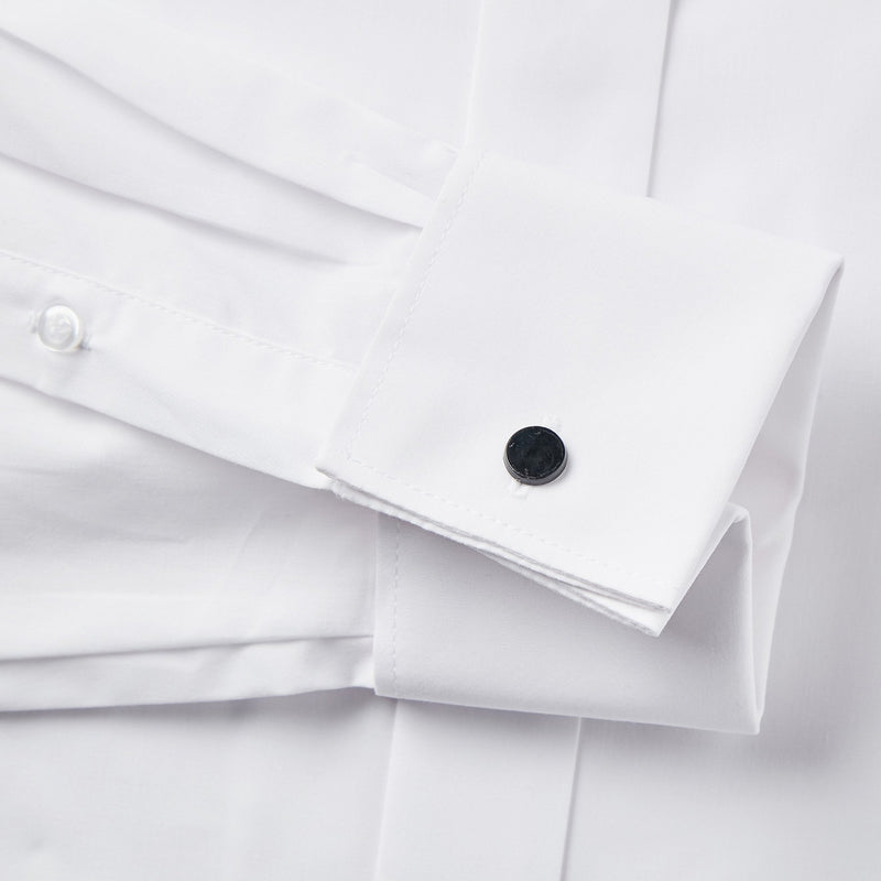 Rael Brook Classic Fit White Swept Wing Double Cuff Dress Shirt Cuff