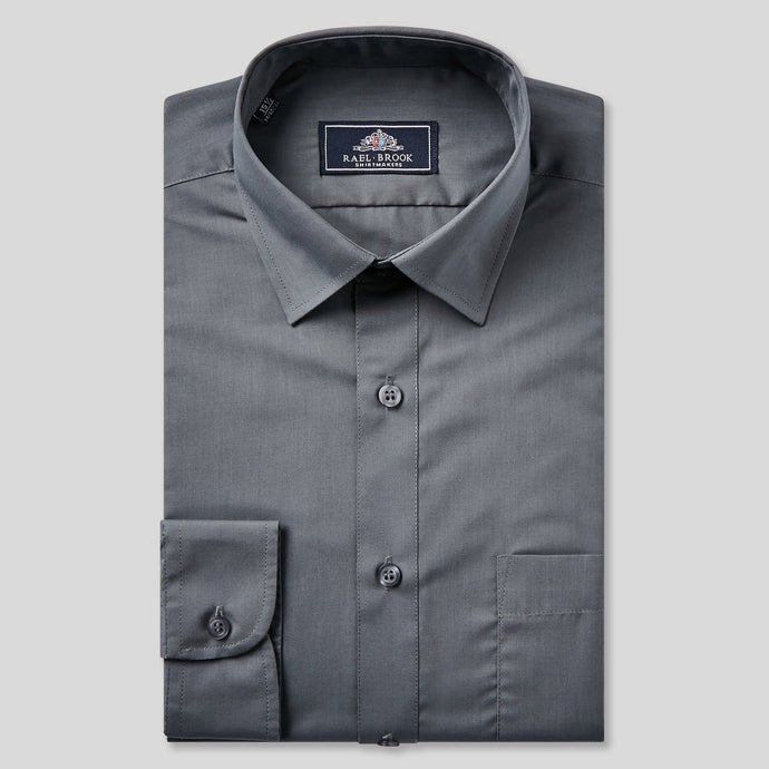 Rael Brook Classic Fit Charcoal Single Cuff Shirt