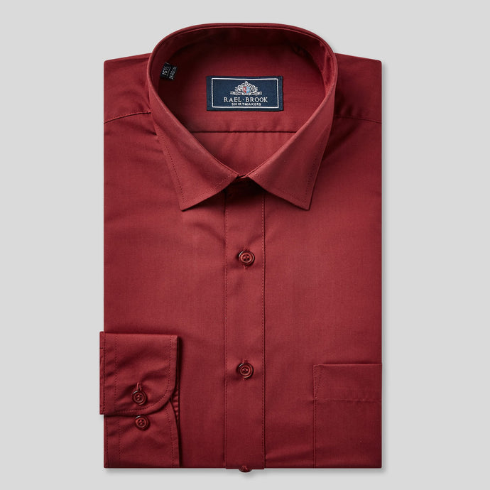 Rael Brook Classic Fit Wine Single Cuff Shirt