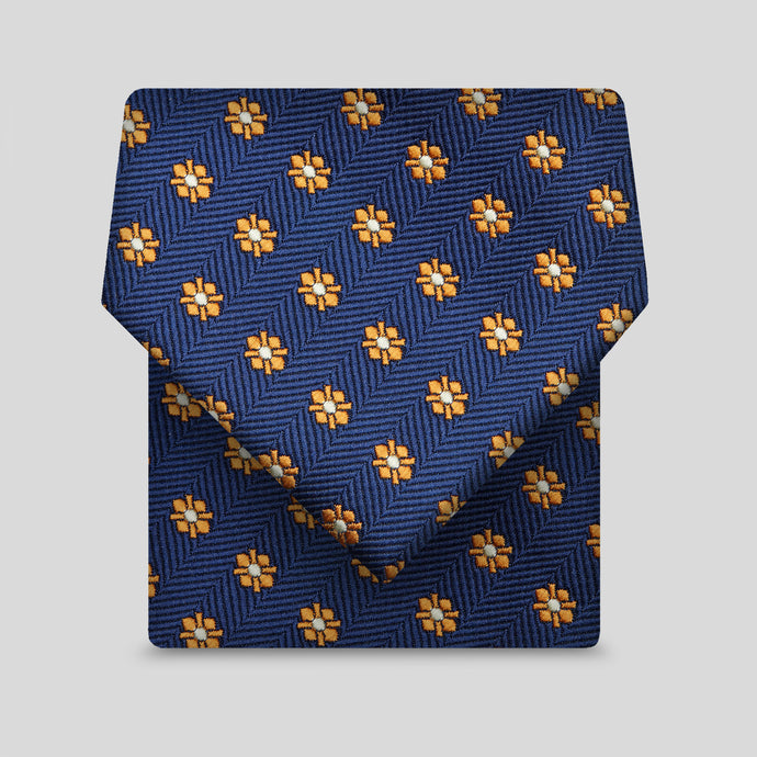 Navy And Yellow Mini Sunflower Pattern Classic Tie