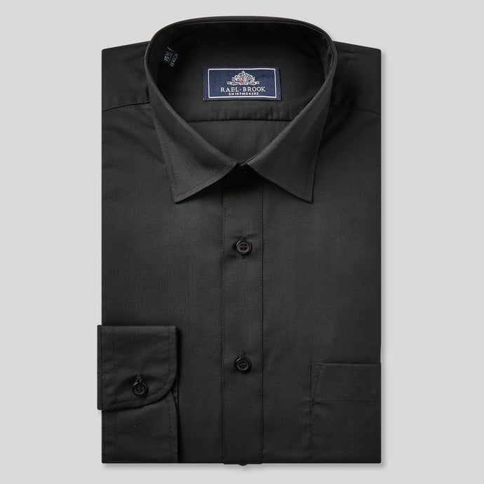 Rael Brook Classic Fit Black Single Cuff Shirt