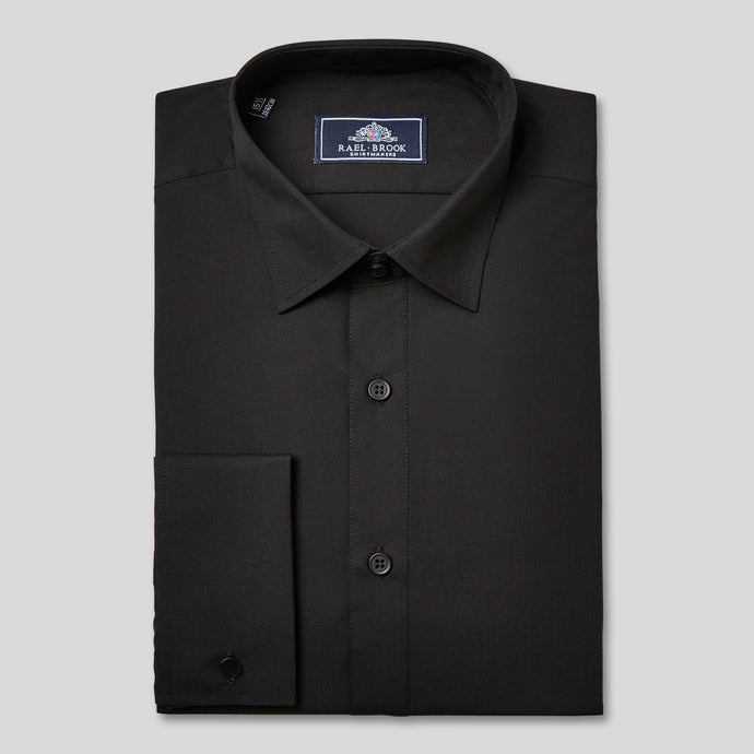 Rael Brook Classic Fit Black Double Cuff Shirt